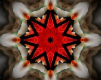 Resuma la estrella echada a un lado sacada del ejemplo 8 de la mandala 3D Foto de archivo