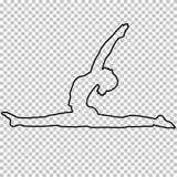 Resuma la figura mujer que hace estirando las piernas, fractura en el fondo transparente, muchacha de la silueta contratada en gi ilustración del vector