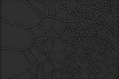 Resuma la rejilla cepillada del voronoi del metal 3d en fondo negro Imagen de archivo libre de regalías