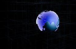 Resuma la tierra con la línea de rejilla en el ejemplo del espacio Mundo futuro con concepto de la tecnología ilustración 3D ilustración del vector