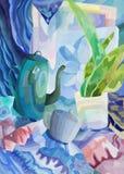 Resuma la vida inmóvil con los objetos de la vida cotidiana en colores fríos, pintando Imágenes de archivo libres de regalías