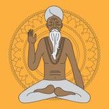 Resuma la yoga que medita el sadhu, monje del hinduism de Asia del logotipo, carácter del hombre religioso de la India libre illustration