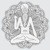 Resuma la yoga que medita el sadhu, monje del hinduism de Asia del logotipo, carácter del hombre religioso de la India ilustración del vector