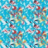 Resuma las flores coloreadas en modelo inconsútil del fondo azul libre illustration