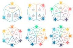 Resuma los gráficos circulares con 3 - 8 secciones, piezas imagen de archivo libre de regalías