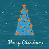 Resuma un árbol de navidad festivo, postal para Foto de archivo