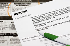Resume Royalty Free Stock Photography