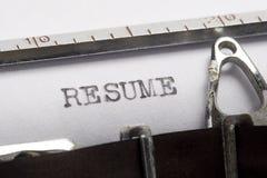 Resume. Written on old typewriter Stock Image