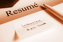 Resume and Appointment Royalty Free Stock Image