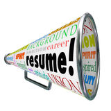 Resume Bullhorn Megaphone Sell Your Skills Experience. The word Resume on a bullhorn or megaphone to sell or communicate your skills, background, experience and Royalty Free Stock Images