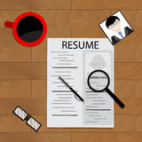 Resume candidate to work. Information cv on table. Vector illustration Stock Photos