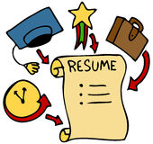 Resume Categories. An image of a resume history including  education, awards, and experience Stock Photography