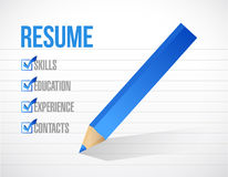 successful employment concept with resume checklist stock image