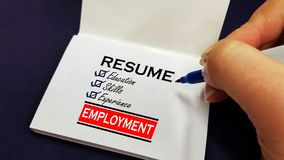 Resume checklist concept on a sticky label stock image