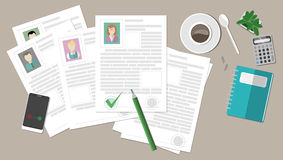 Resume with coffee on a table. Stock Photos