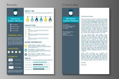 Resume and Cover letter collection.  Modern CV set with Infograp Royalty Free Stock Photo