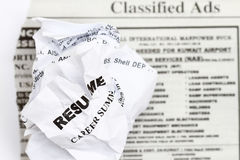 Resume crumpled Stock Photography