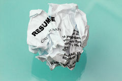 Resume crumpled Royalty Free Stock Image