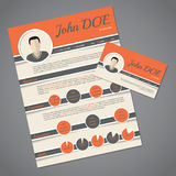 Resume cv template with business card Stock Photos