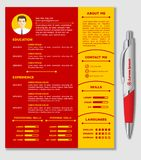 Resume and CV Template with nice minimalist design and Realistic Pen. royalty free illustration