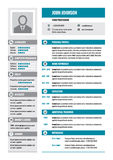 Resume - CV - vector concept layout in A4 format. Business resume - vector template. Modern resume template in gray and blue color Royalty Free Stock Photo