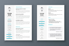 Resume and cv vector template. Awesome for job applications. Stock Photo