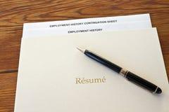resume för penna för anställningmapphistoria Royaltyfri Fotografi