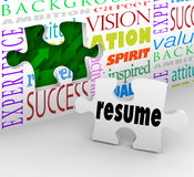 Resume Fill Opening New Position Job Interview Experience. A puzzle piece with the word Resume filling an opening in a wall to illustrate interviewing and Stock Image