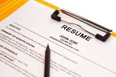 Resume in folder. Isolated on white background stock photos