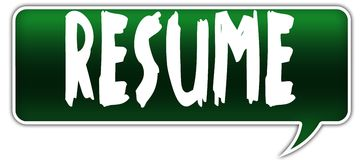RESUME on green dialogue word balloon. Illustration Stock Photos