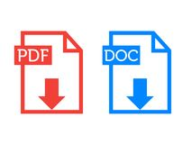 Resume Icons PDF DOC stock photography