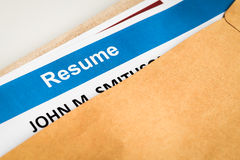 Resume letter background in brown envelop, can use as recruitmen Royalty Free Stock Image