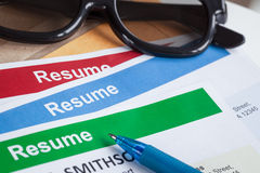 Resume letter background and glasses, pen, can use as recruitmen Stock Photography