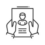 Resume - line design single isolated icon. Resume - vector line design single isolated icon, pictogram. Hands holding page with resume Stock Photo