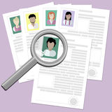 Resume with magnifier. Stock Photo
