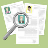 Resume with magnifier. Stock Photography