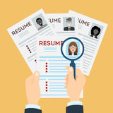 Resume with magnifier. Woman resume with magnifier at the table. Cv resume concept. Finding a worker. Apply for a job. Business opportunity. Cv profile vector illustration
