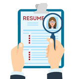 Resume with magnifier. Stock Images