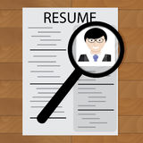Resume and magnifying glass. Candidate to hr, employee interview, research with magnifying. Vector illustration Royalty Free Stock Image