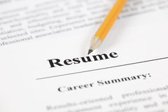 Resume. With pencil. Close up stock photography