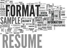 A Resume Sample Will Give You A Clear Idea Of What Will Best Suit Your Needs Word Cloud Royalty Free Stock Image