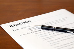 Resume on the Table Stock Photo