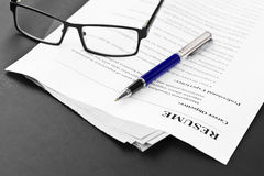 Resume on the Table Royalty Free Stock Image