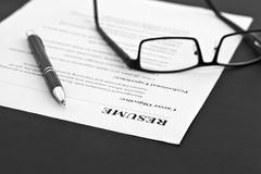 Resume on the Table Royalty Free Stock Photo