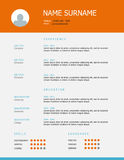 Resume template design with orange blue headings. Professional simple styled resume template design with orange blue headings on grey background Stock Photos