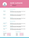Resume template design with pink headings. Professional simple styled resume template design with pink headings Royalty Free Stock Photography
