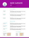 Resume template design with purple headings. Professional simple styled resume template design with purple headings Royalty Free Stock Images