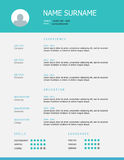 Resume template design with teal blue headings. Professional simple styled resume template design with teal blue headings on grey background Royalty Free Stock Photo