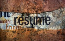Resume text on wall stock image