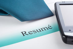 Resume Tie and PDA Stock Images